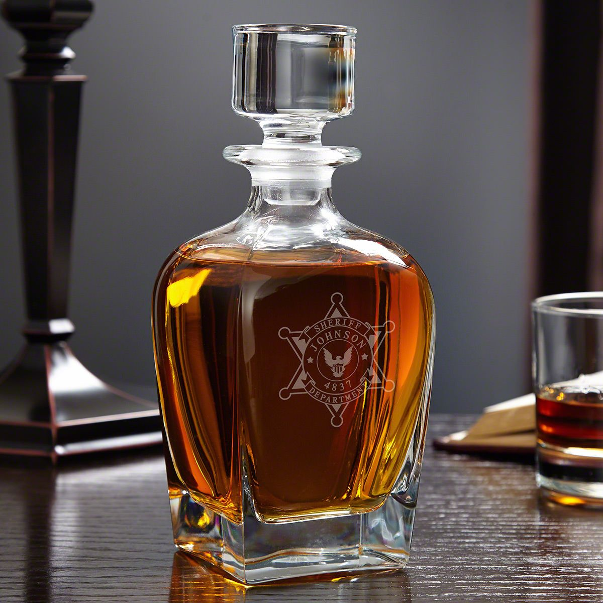 Sheriff Badge Personalized Draper Whiskey Decanter – Sheriff Gifts