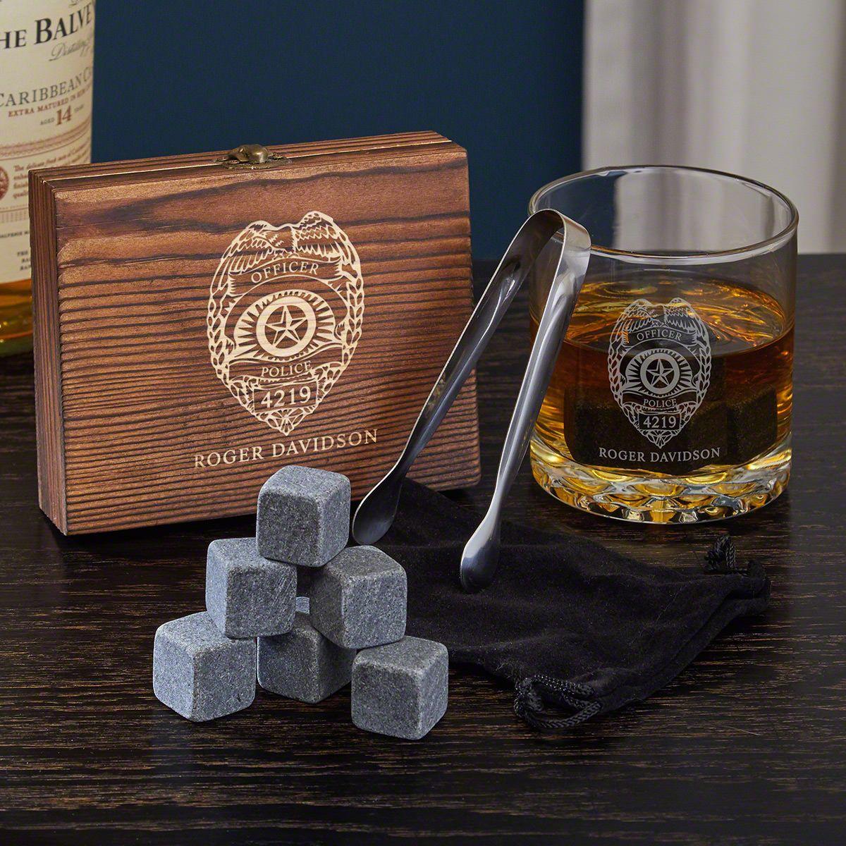 Police Badge Engraved Rocks Glass & Chilling Stones Whiskey Gift Set