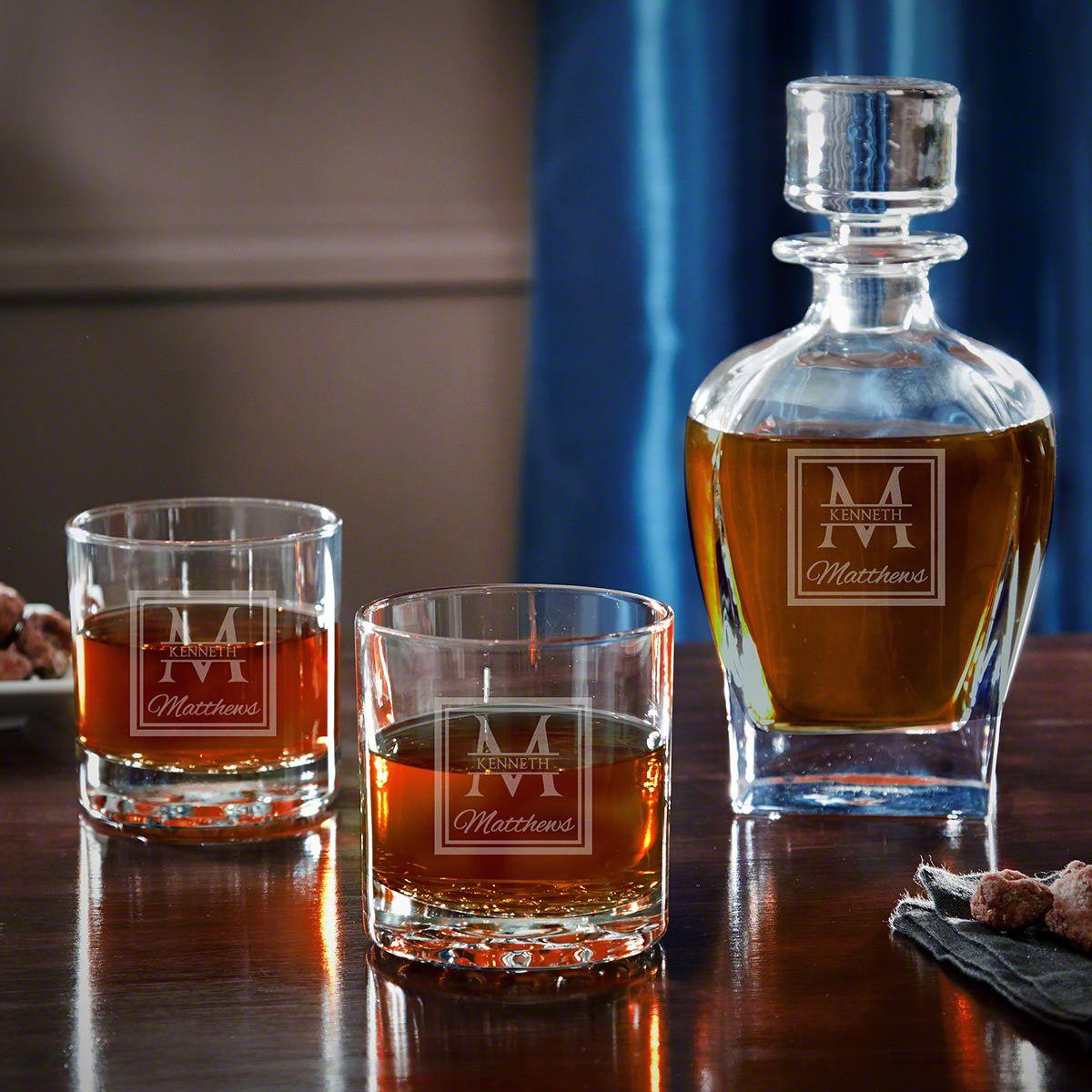 Oakhill Engraved Draper Whiskey Decanter Set