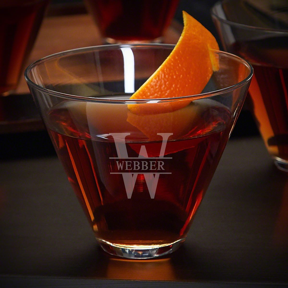 Oakmont Engraved Stemless Cocktail Glass