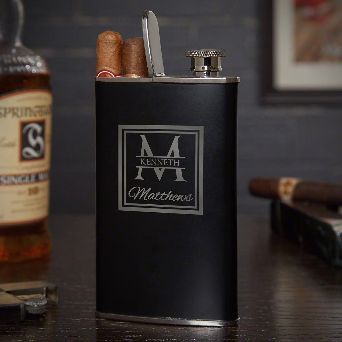 Oakhill Custom Stainless Steel Black Cigar Flask for Men