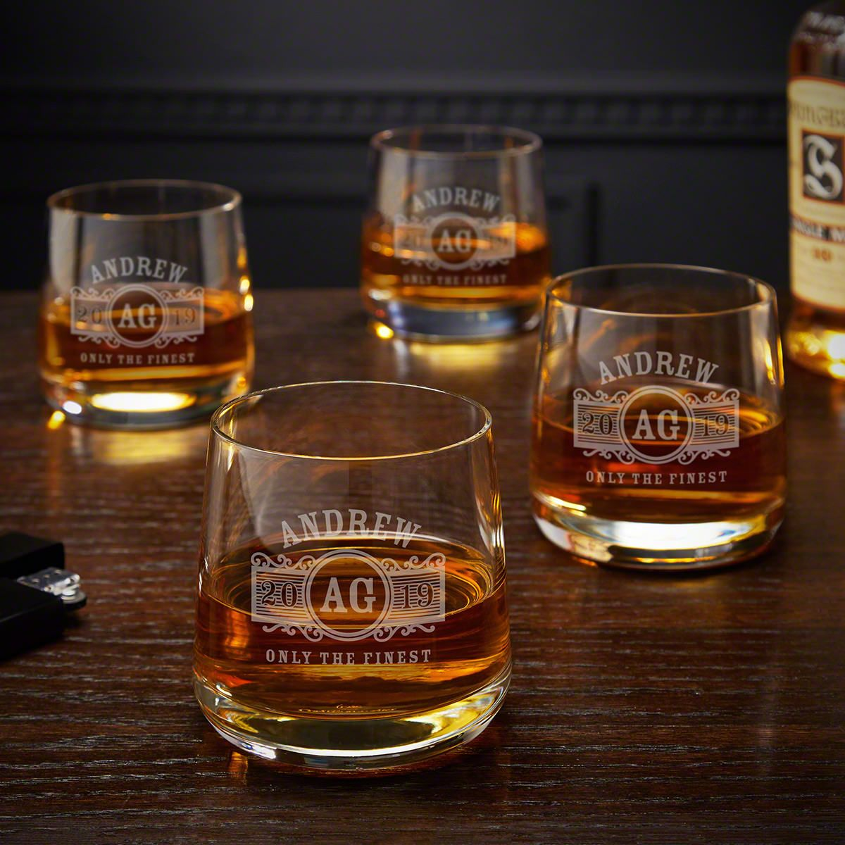 Marquee Benson Personalized Rocks Glasses, Set of 4