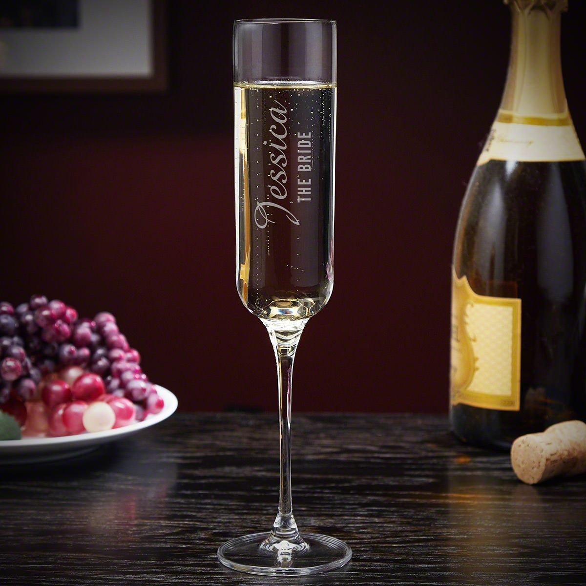 Lassarre Engraved Tall Champagne Flute for Wedding Reception