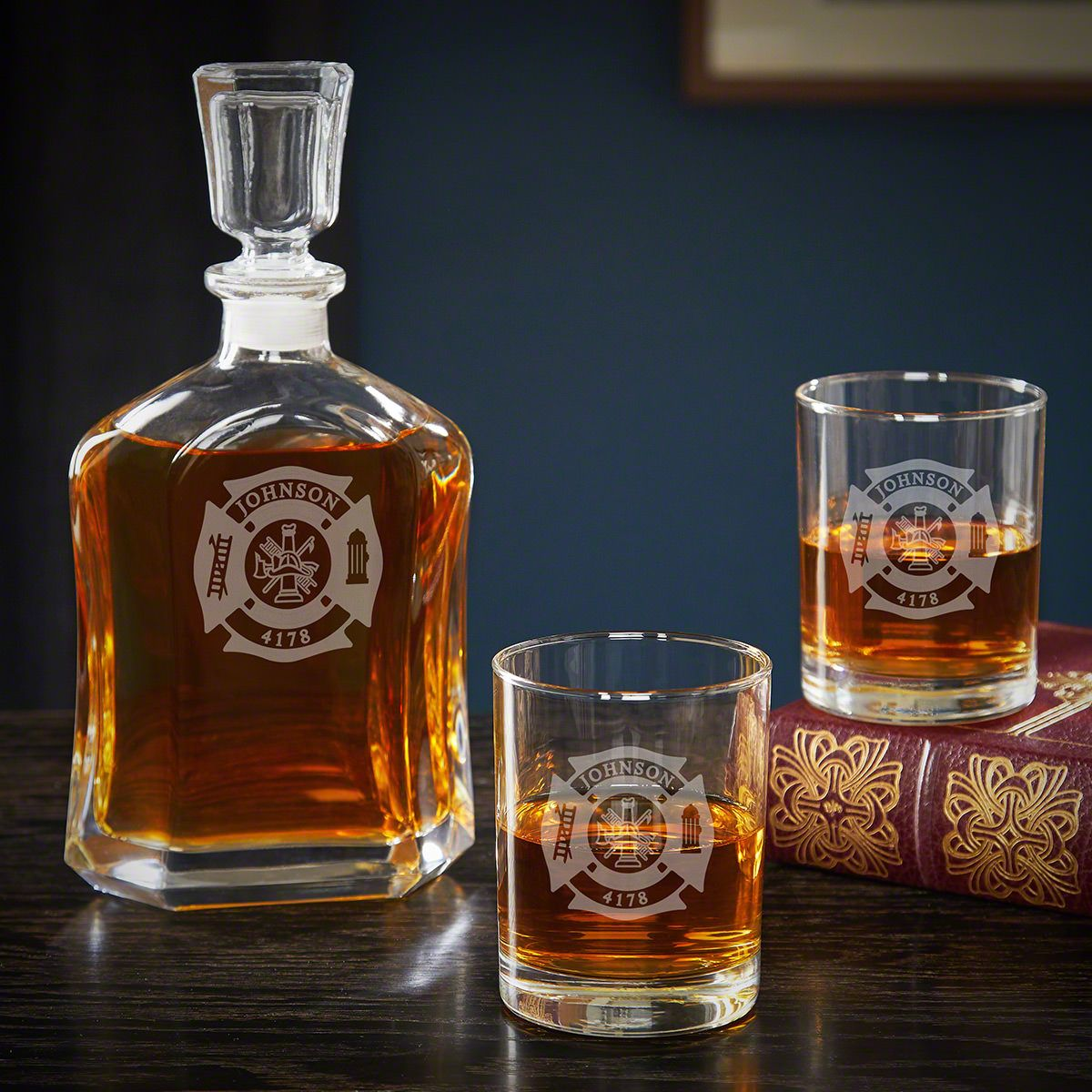 Fire and Rescue Personalized Decanter Set with Rocks Glasses – Firefighter Gift Idea