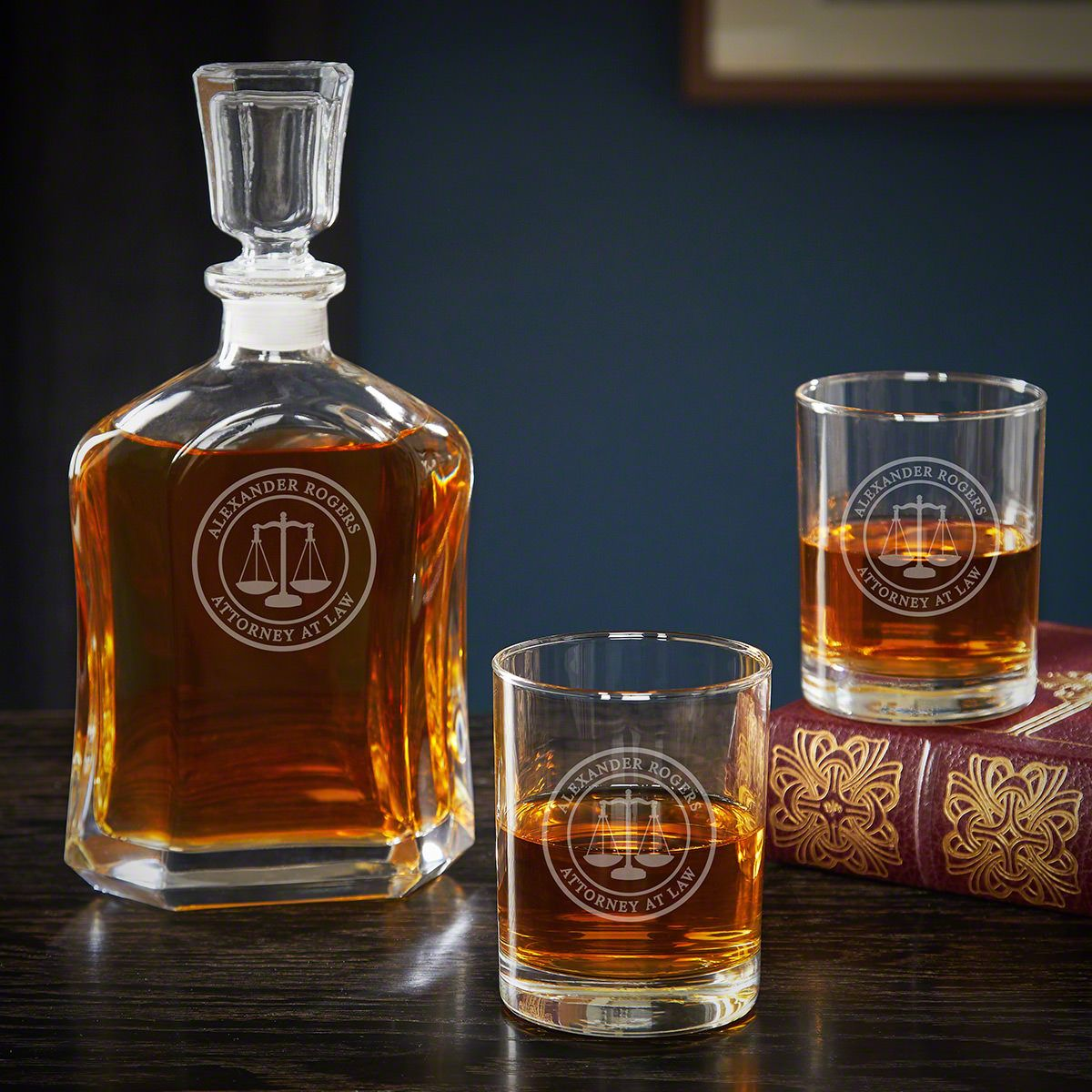 Scales of Justice Custom Decanter Set with Rocks Glasses – Gift for Lawyers