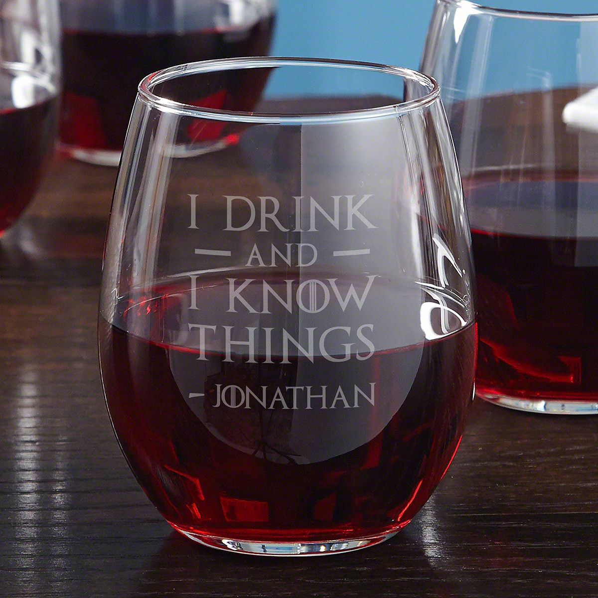 I Drink and I Know Things Personalized Stemless Wine Glass