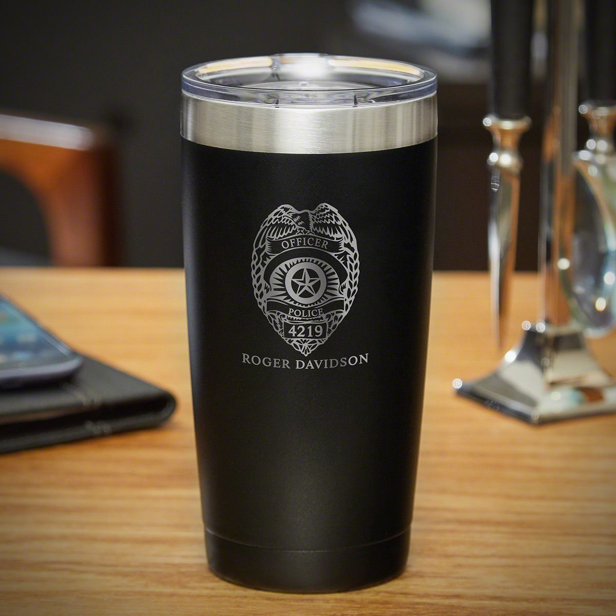 Police Badge Personalized Insulated Tumbler- Gift for Cops