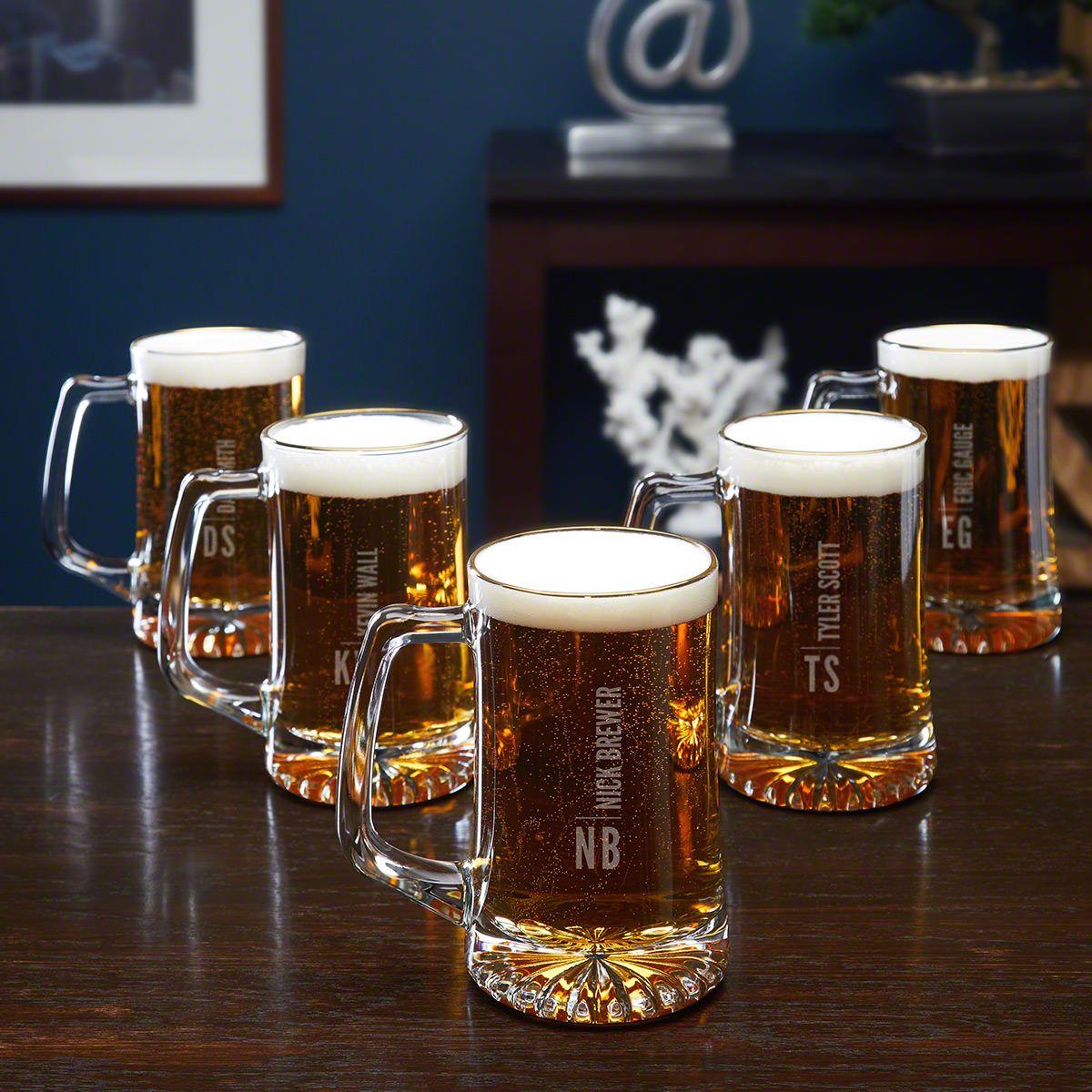 Calvin Custom Gold Rim Beer Mugs for Groomsmen – Set of 5