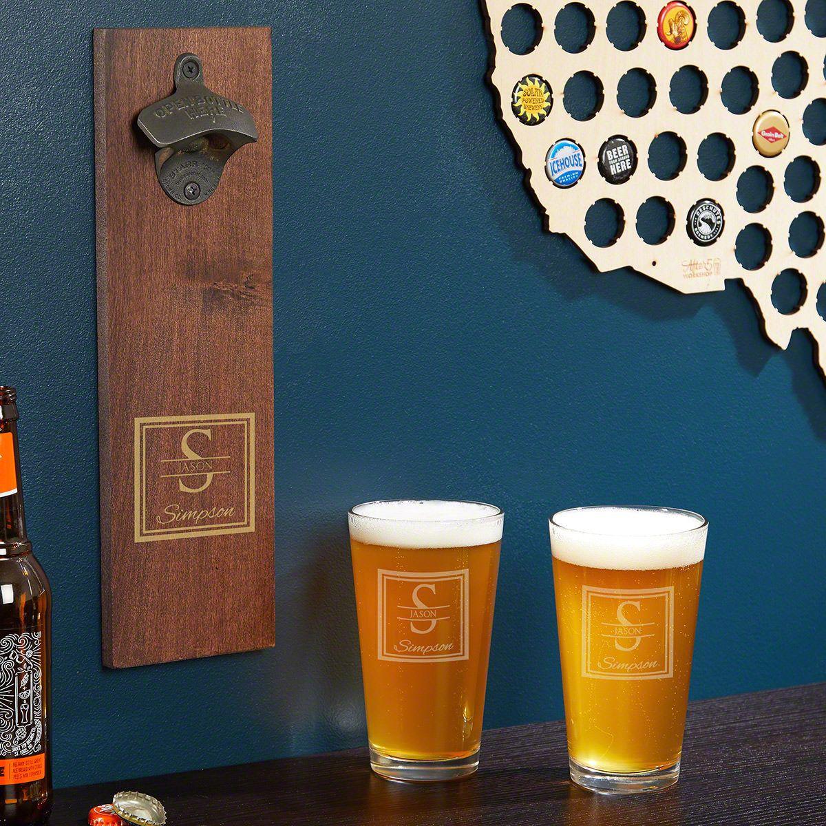 Oakhill Personalized Wall Mounted Bottle Opener & Pint Glass Set