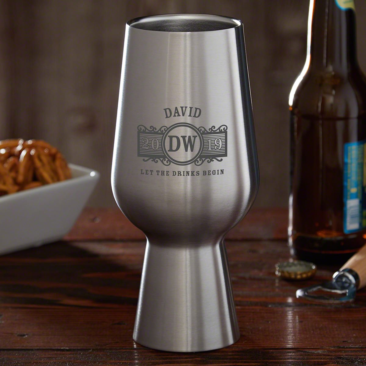 Marquee Personalized Stainless Steel Pint Glass