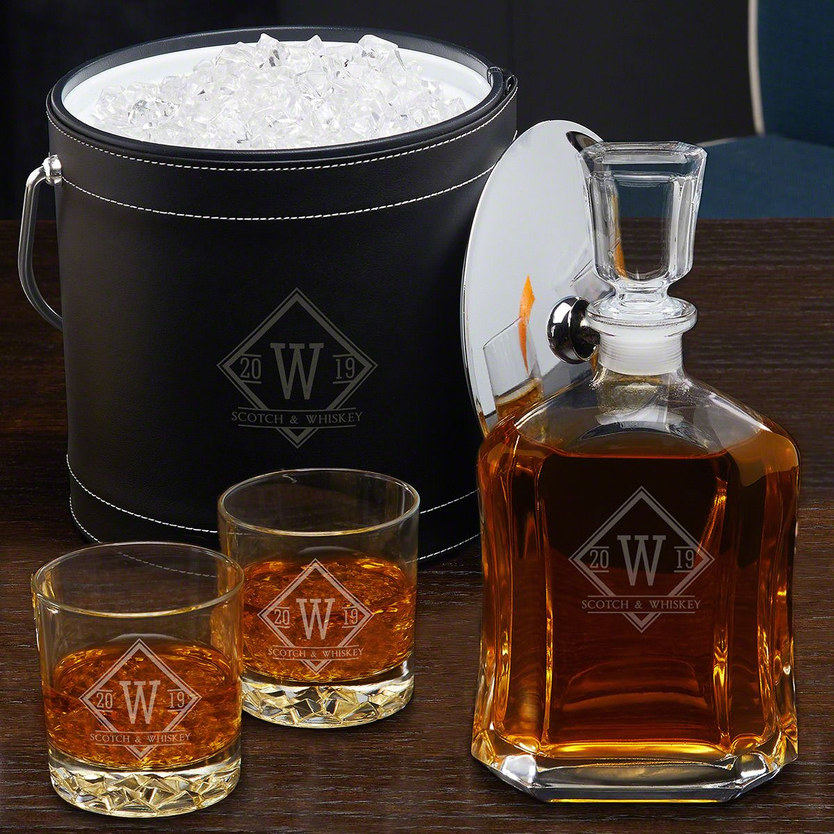 Drake Black Custom Insulated Ice Bucket & Decanter Set