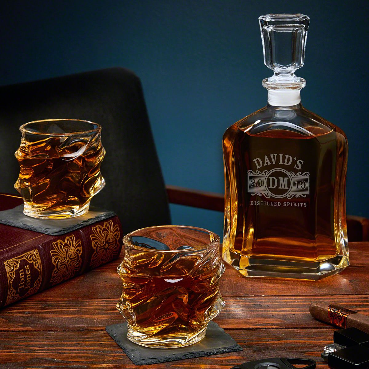 Marquee Personalized Decanter Set with Sculpted Glasses