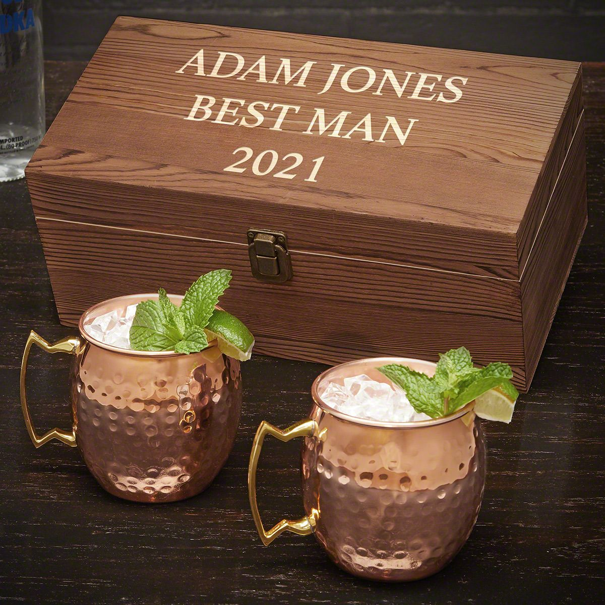Personalized Wood Box with Copper Mugs