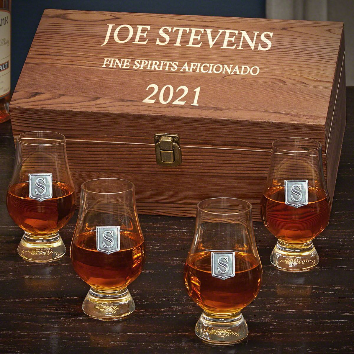 Personalized Glencairn Whiskey Glasses Set with Regal Crest