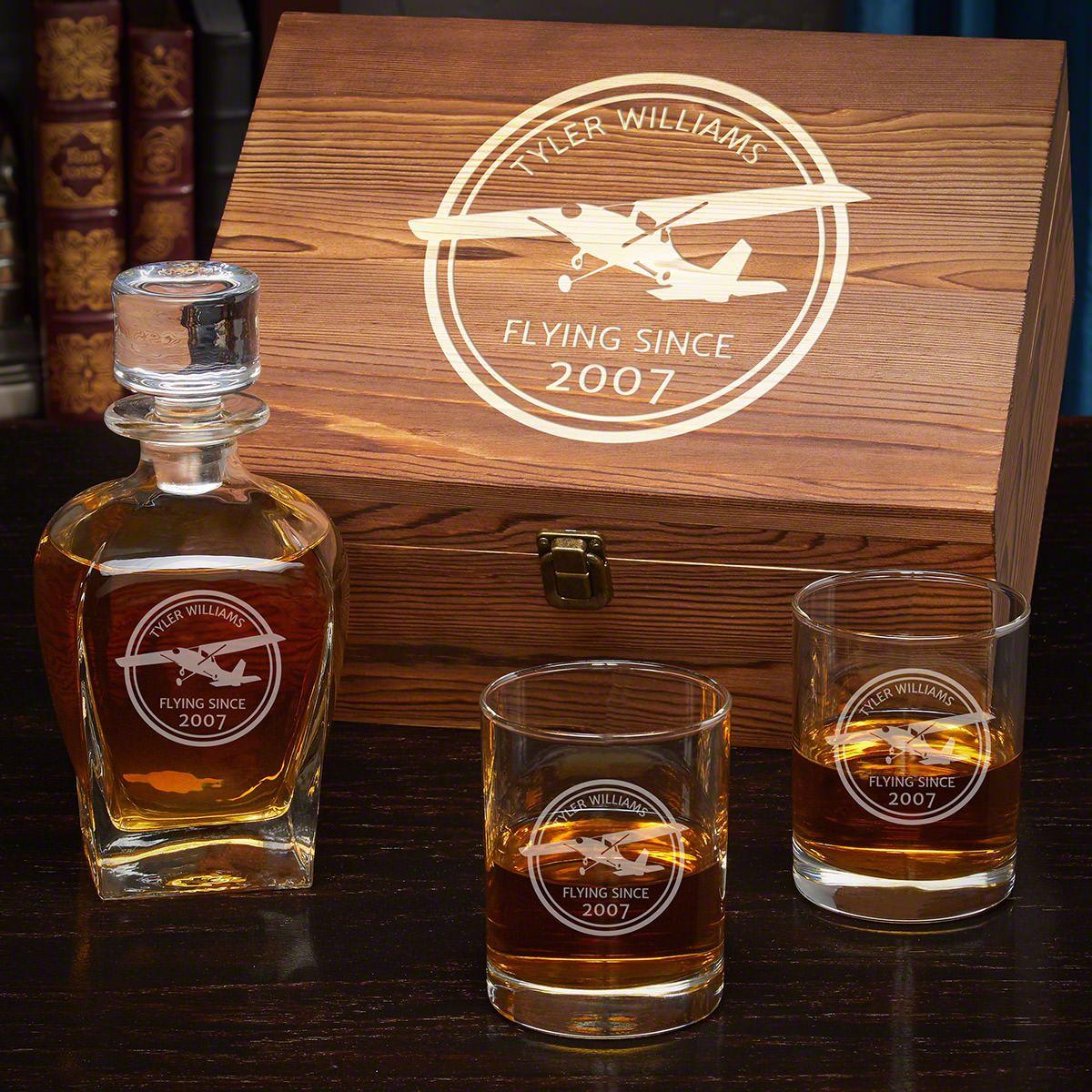 Aviator Custom Whiskey Box Set - Gift for Pilots