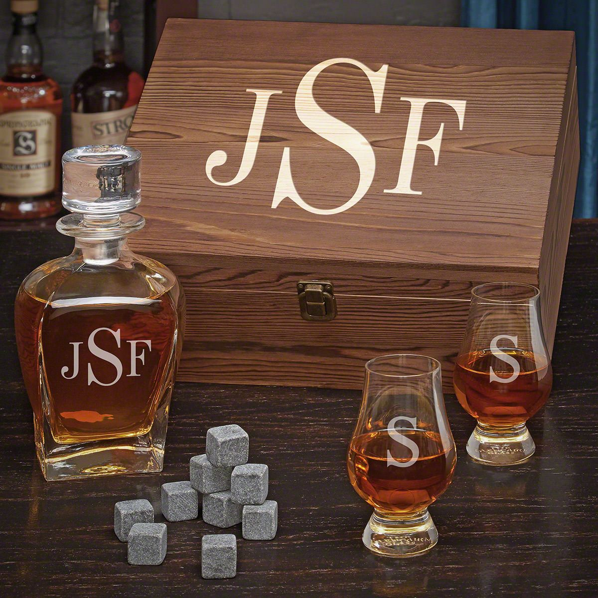 Classic Monogram Personalized Scotch Gift Set