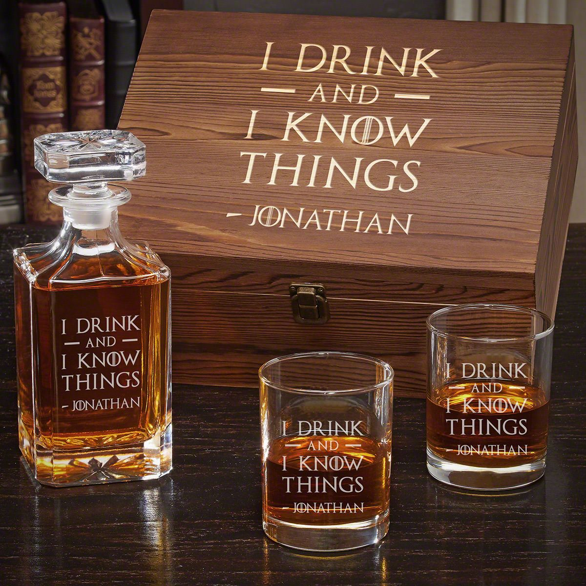 I Drink and I Know Things Personalized Whiskey Gift Set for Men