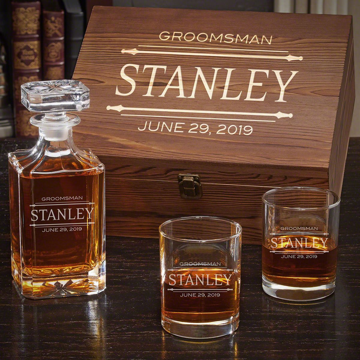 Stanford Personalized Whiskey Decanter Set - Gift for Groomsmen