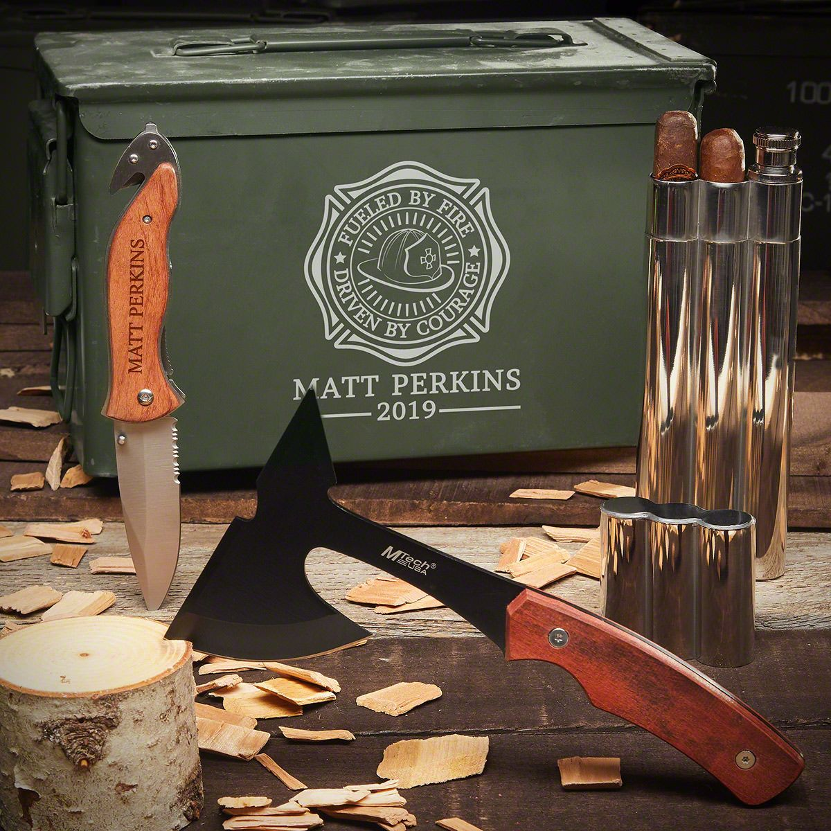 Sharpened Tools Fueled By Fire Personalized 50 Cal Ammo Can Gift Set for Firefighters