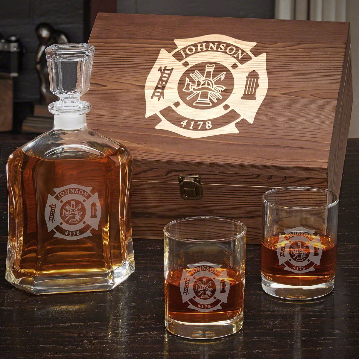 Fire and Rescue Personalized Whiskey Gift for Firefighters