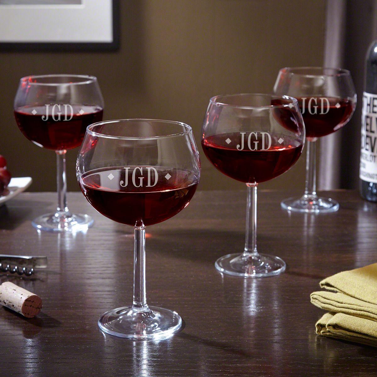 Diamond Monogram Red Wine Glasses, Set of 4