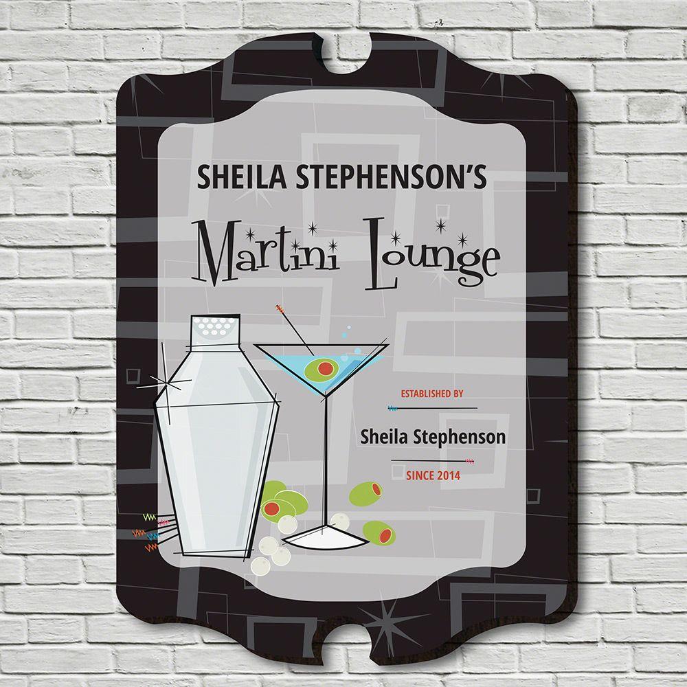 Martini Lounge Personalized Bar Sign