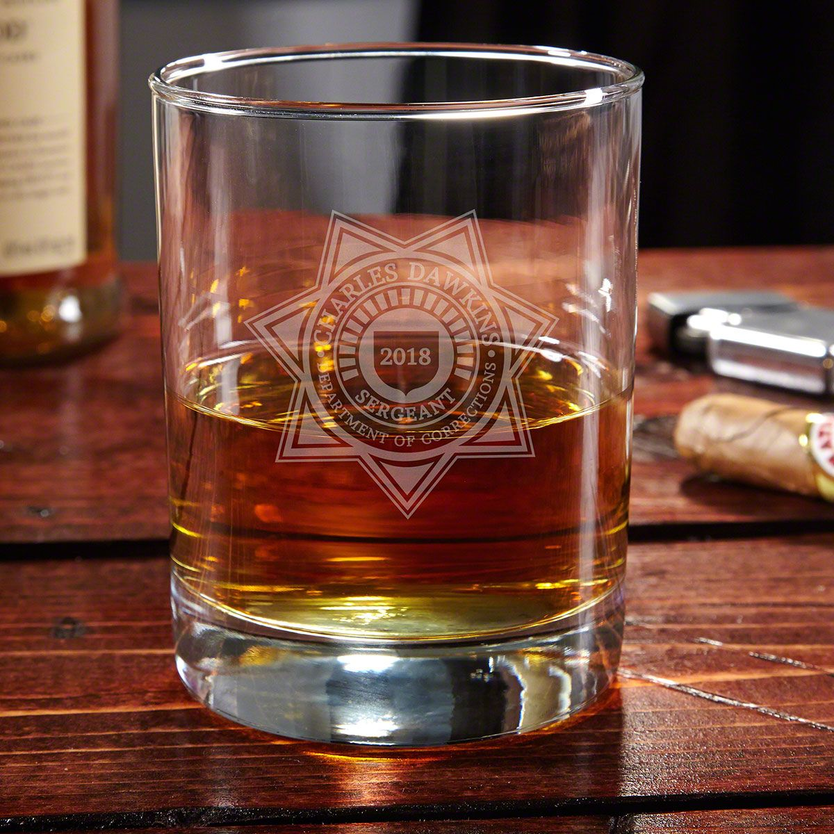 Custom Department of Corrections Whiskey Glass