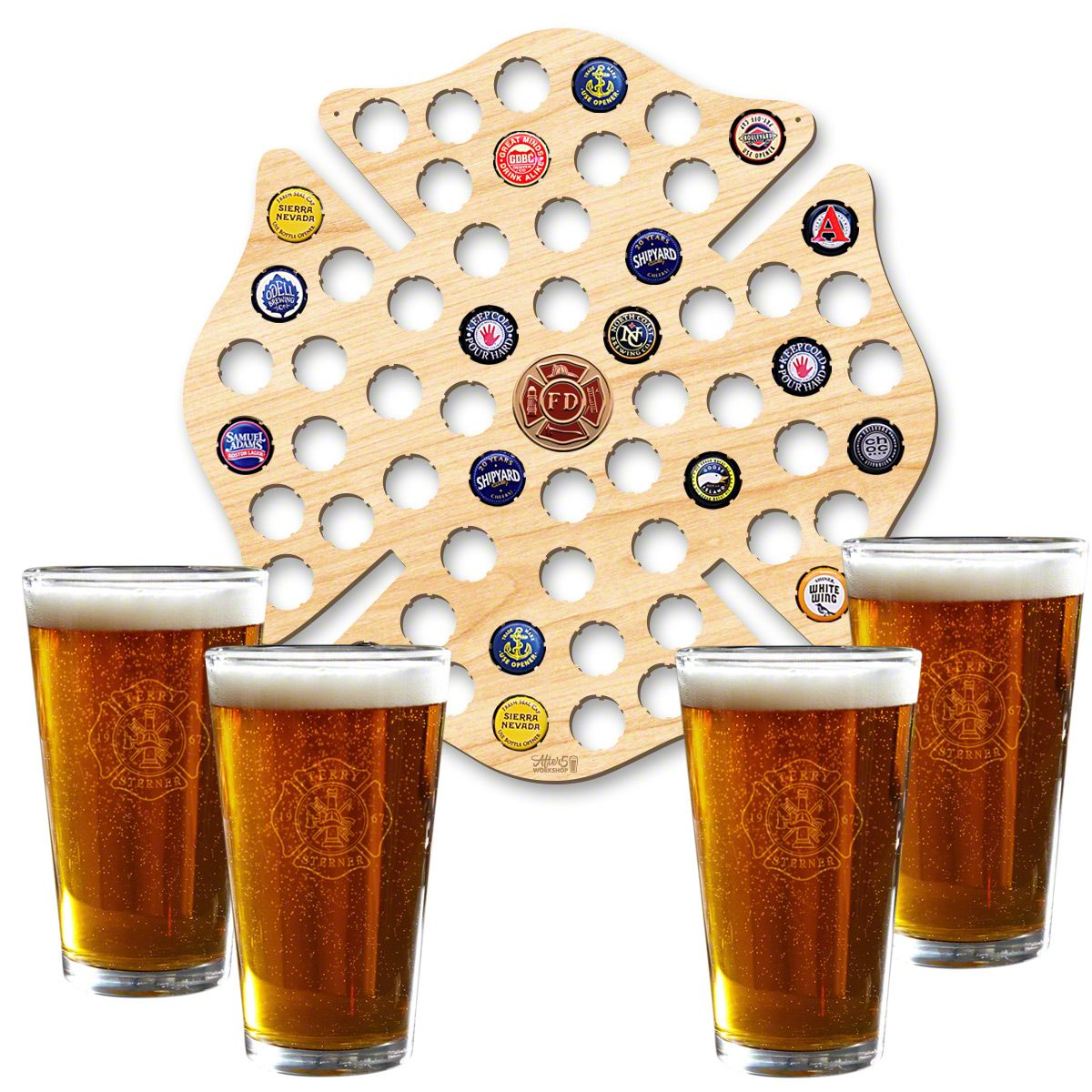 Custom Maltese Cross Beer Cap Map and Beer Glasses