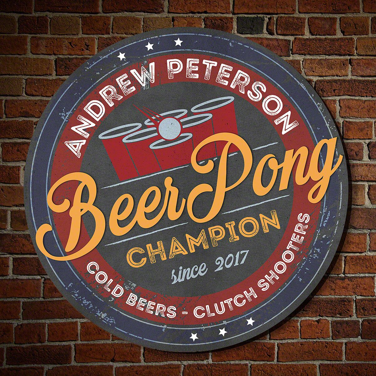 Beer Pong Champion Personalized Bar Sign