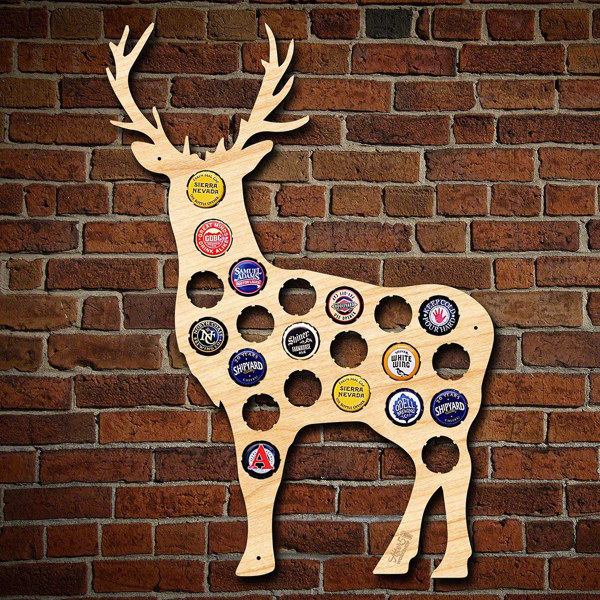 Buck Deer Beer Cap Map Decor