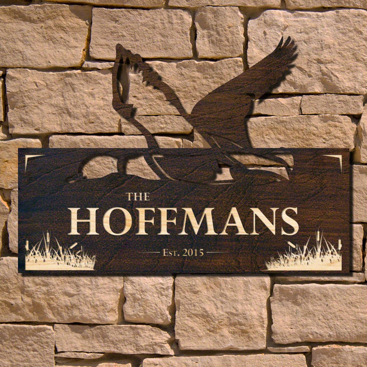 Duck in Flight Personalized Home Sign (Signature Series)