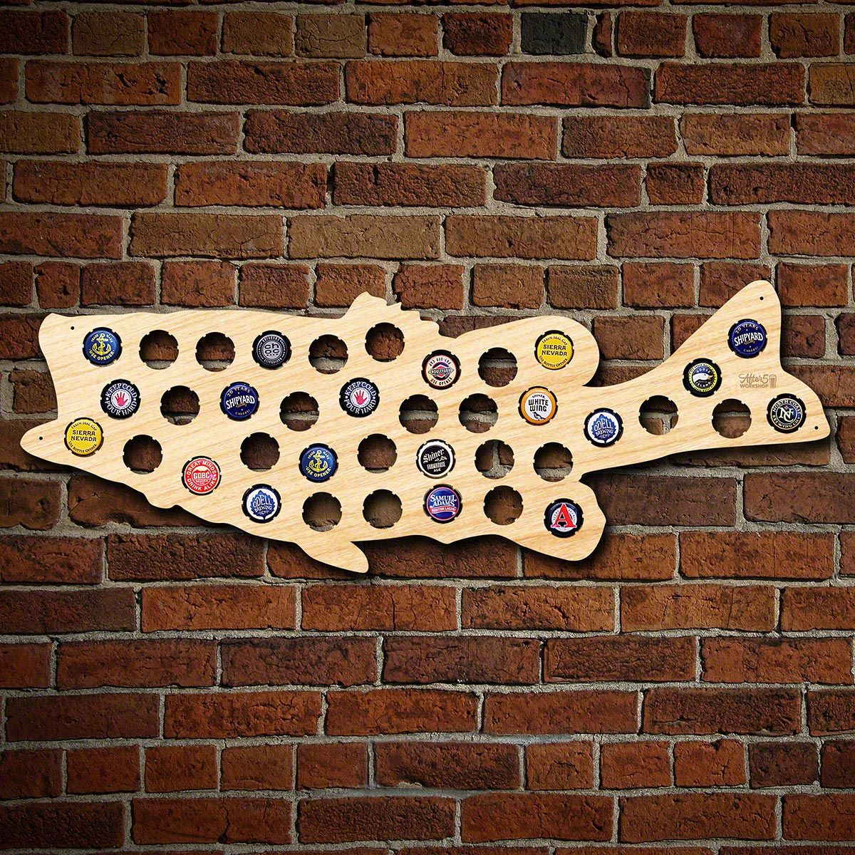 Large Mouth Bass Beer Cap Map