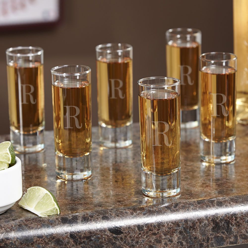 Tall Personalized Shot Glasses, Set of Six