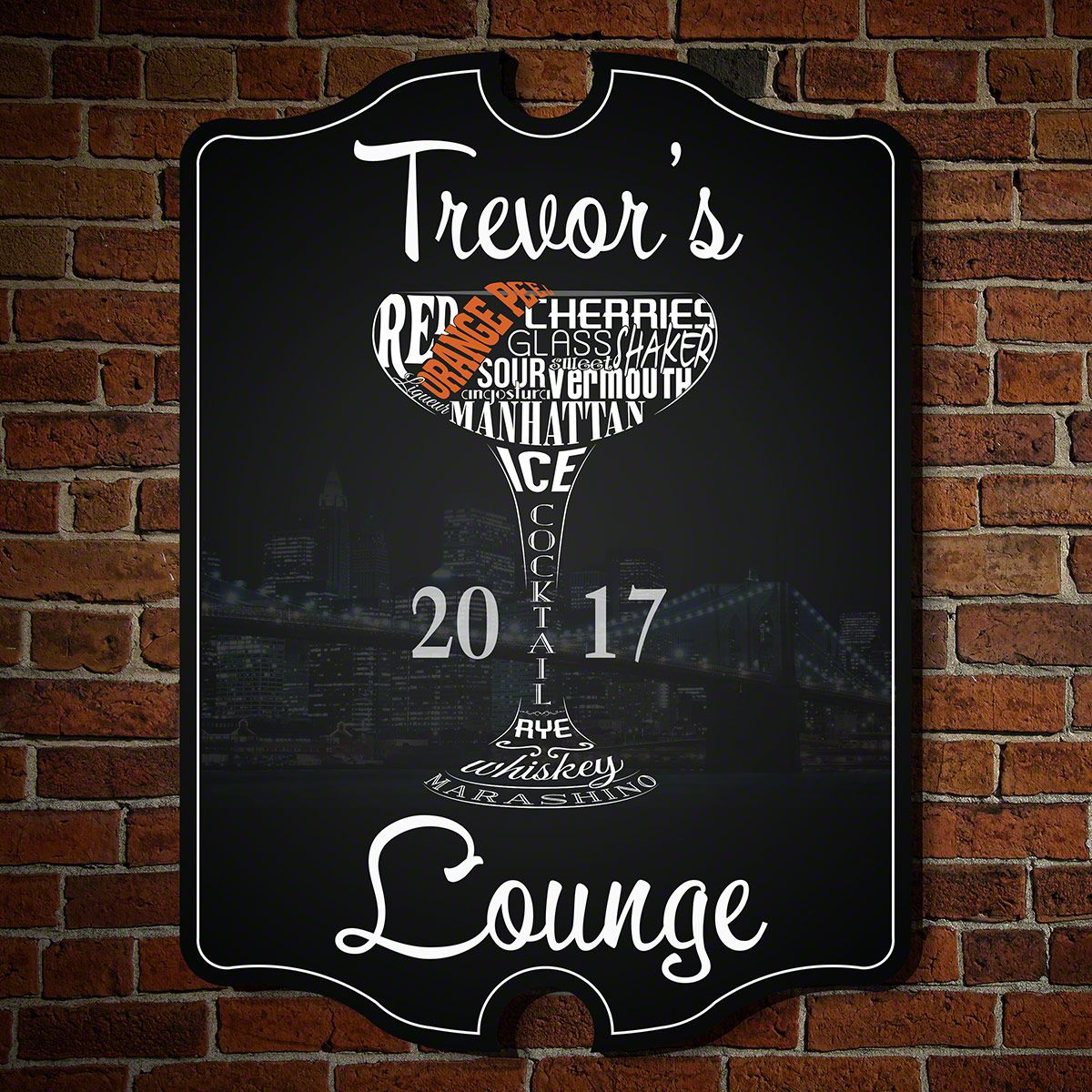 Midnight Lounge Personalized Wall Decor Sign