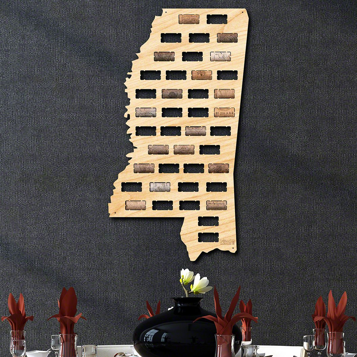 Mississippi Wine Cork Map