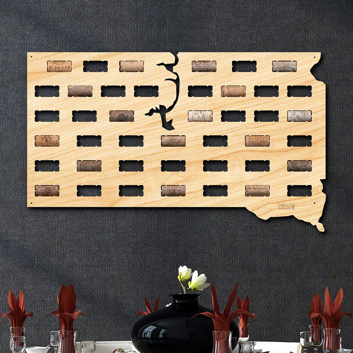 South Dakota Wine Cork Map