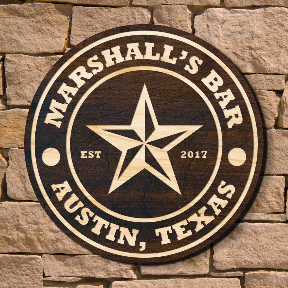 Lone Star Bar Custom Wooden Sign (Signature Series)