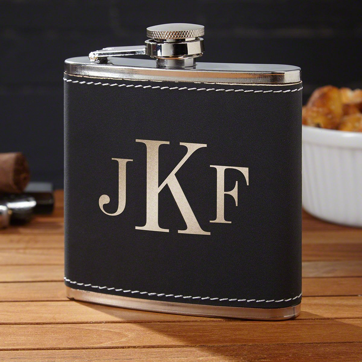 Radcliff Personalized Black Flask with Classic Monogram