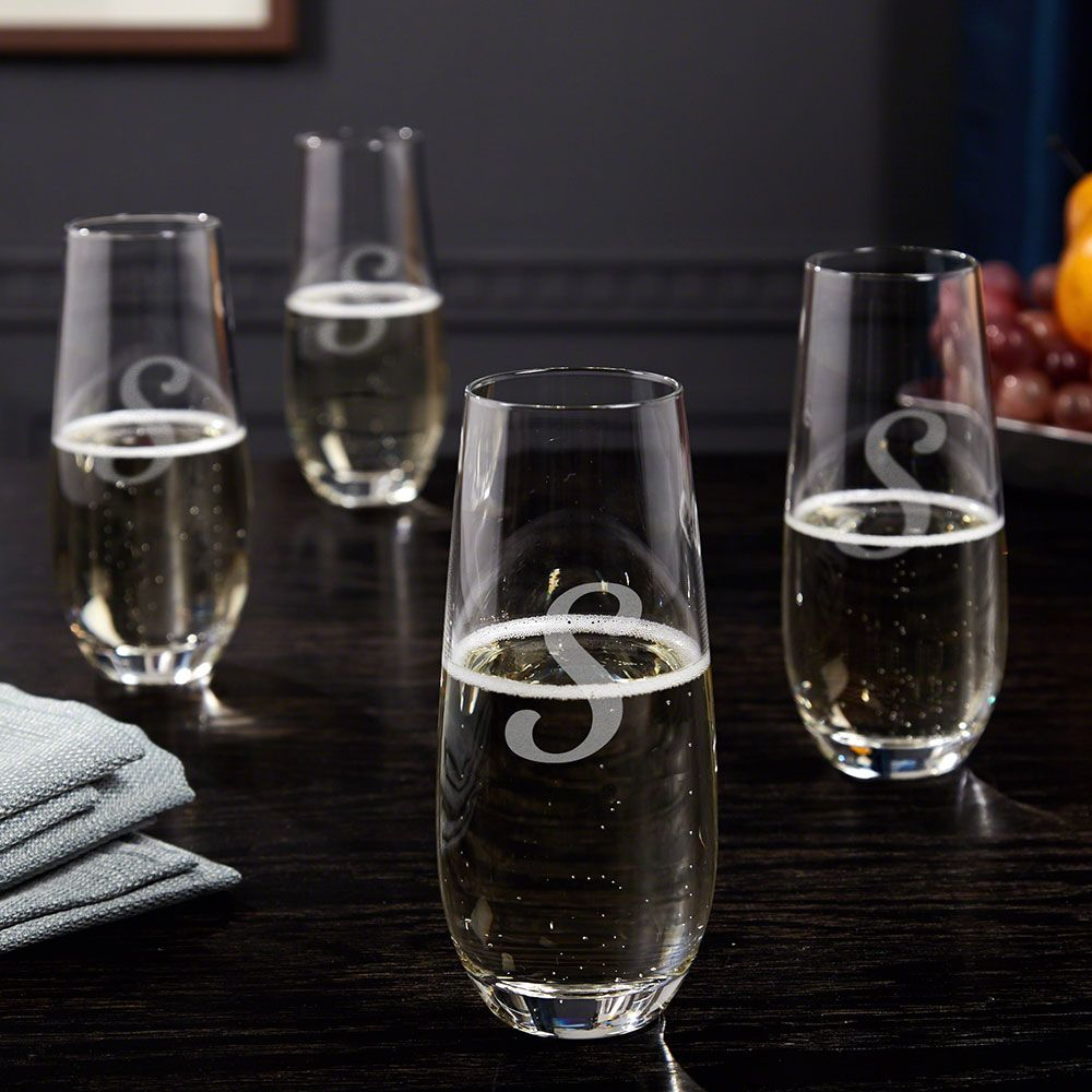 Reims Engraved Stemless Champagne Flutes, Set of 4