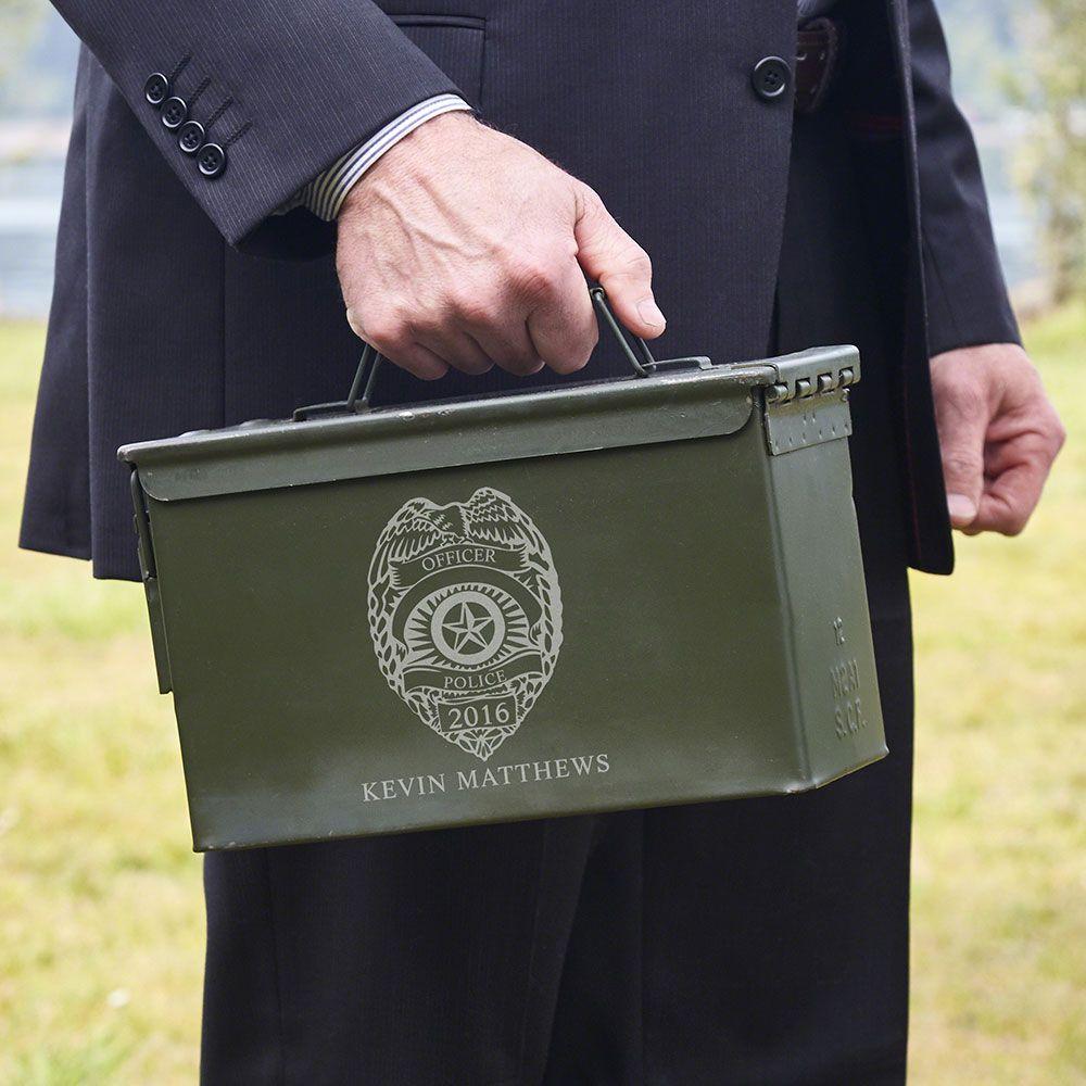 Police Badge Personalized Ammunition Box