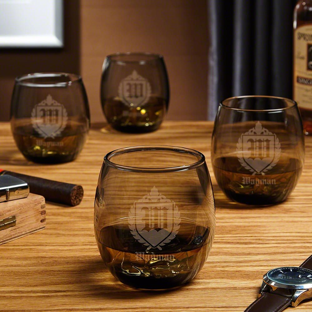 Oxford Monogram Personalized Cocktail Glasses, Set of 4