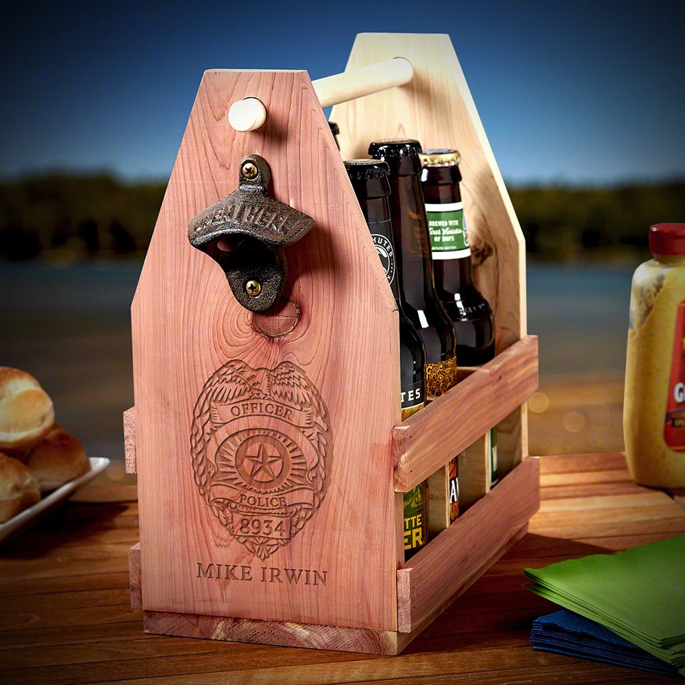 Police Badge Engraved Wooden Beer Caddy