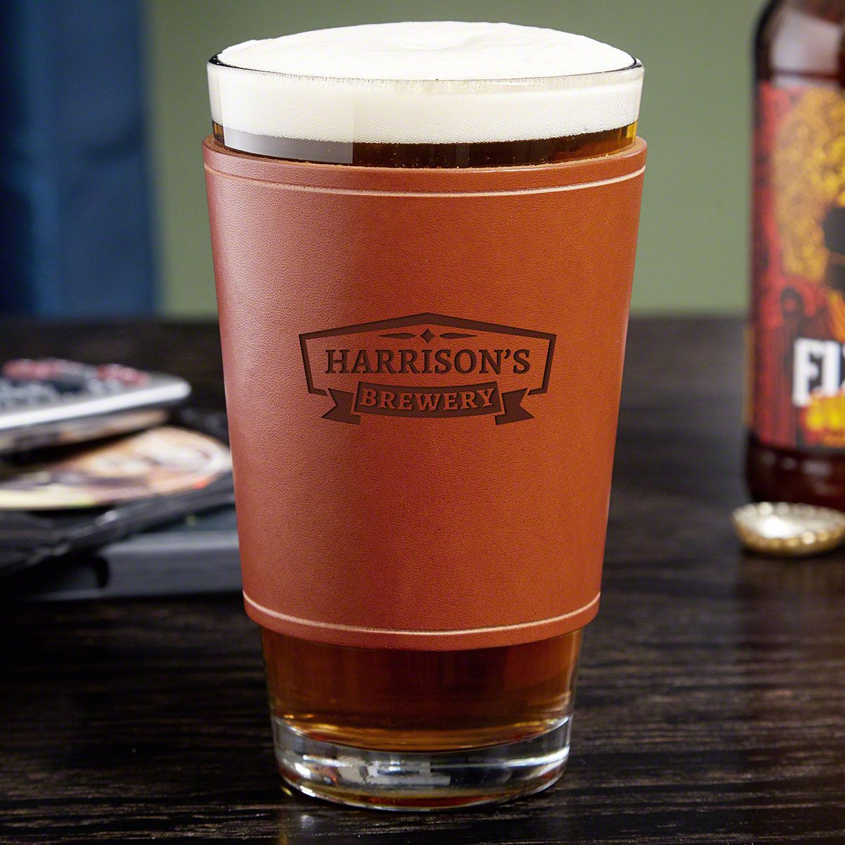 Classic Brewery Beer Glass with Personalized Leather Wrap