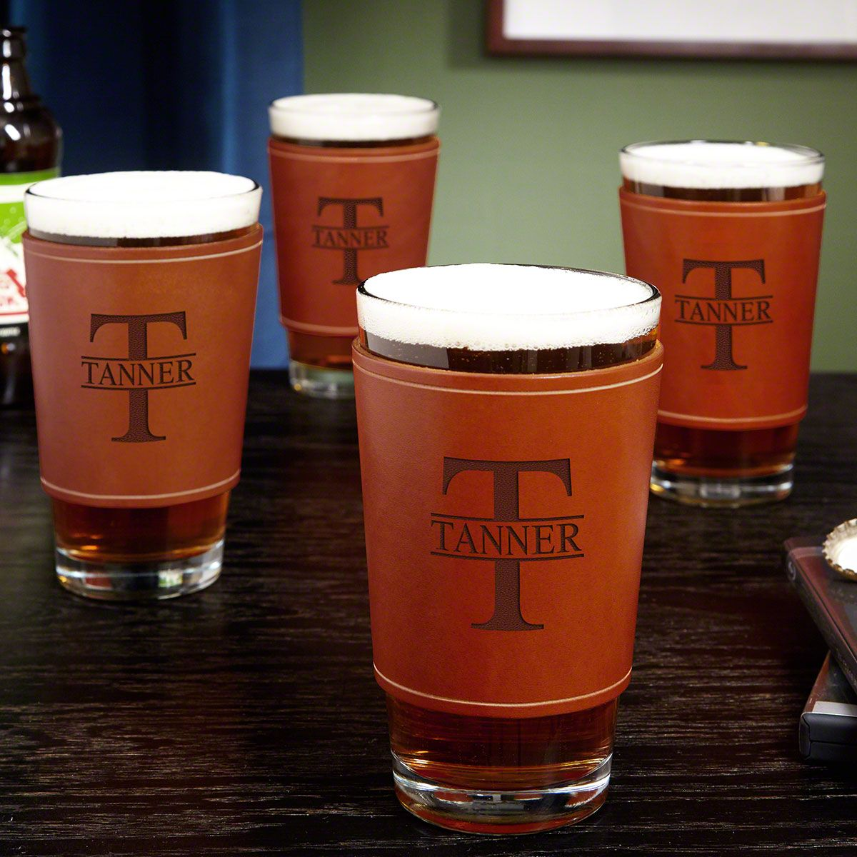 Oakmont Pint Glasses with Personalized Leather Wrap, Set of 4