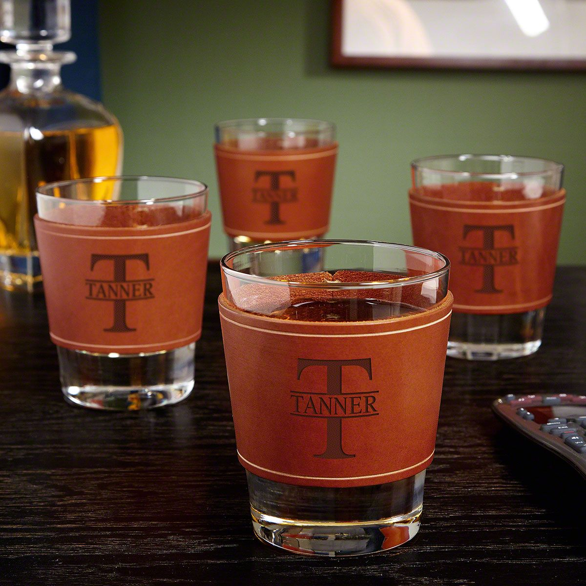 Oakmont Whiskey Glasses with Personalized Leather Wrap, Set of 4
