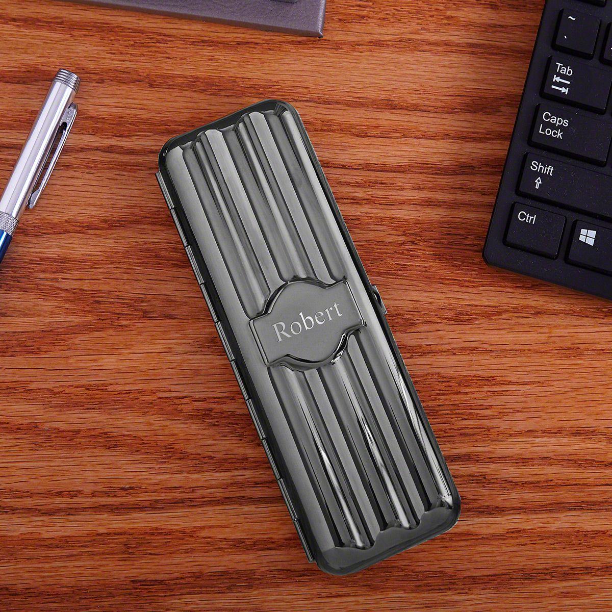 Biltmore Gunmetal Personalized Cigar Holder