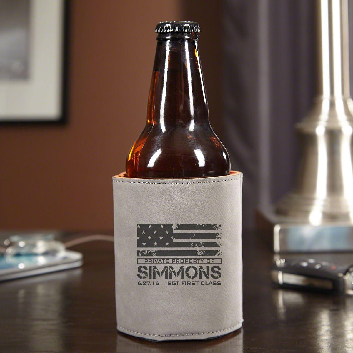 american heroes personalized beer koozie slate gray