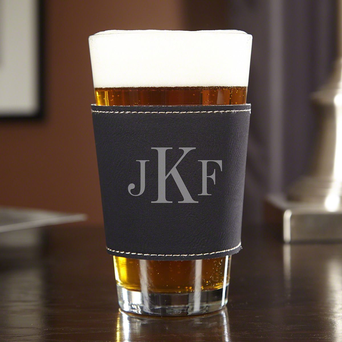 Classic Monogram Personalized ThermaSleeve Pint Glass