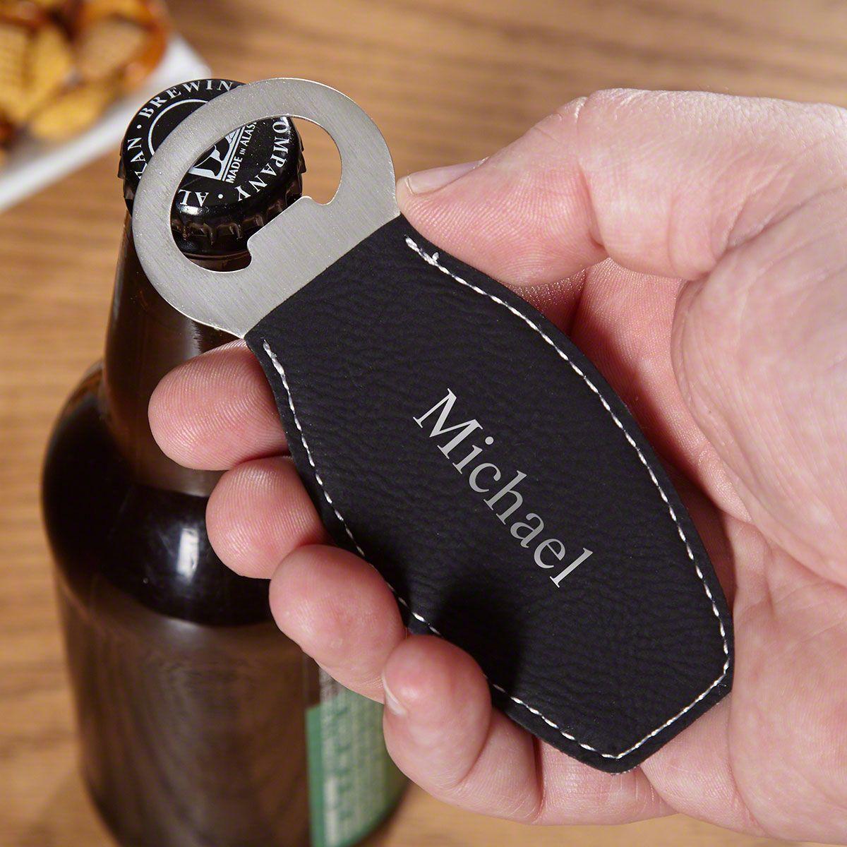 Black & Silver Engravable Beer Bottle Opener