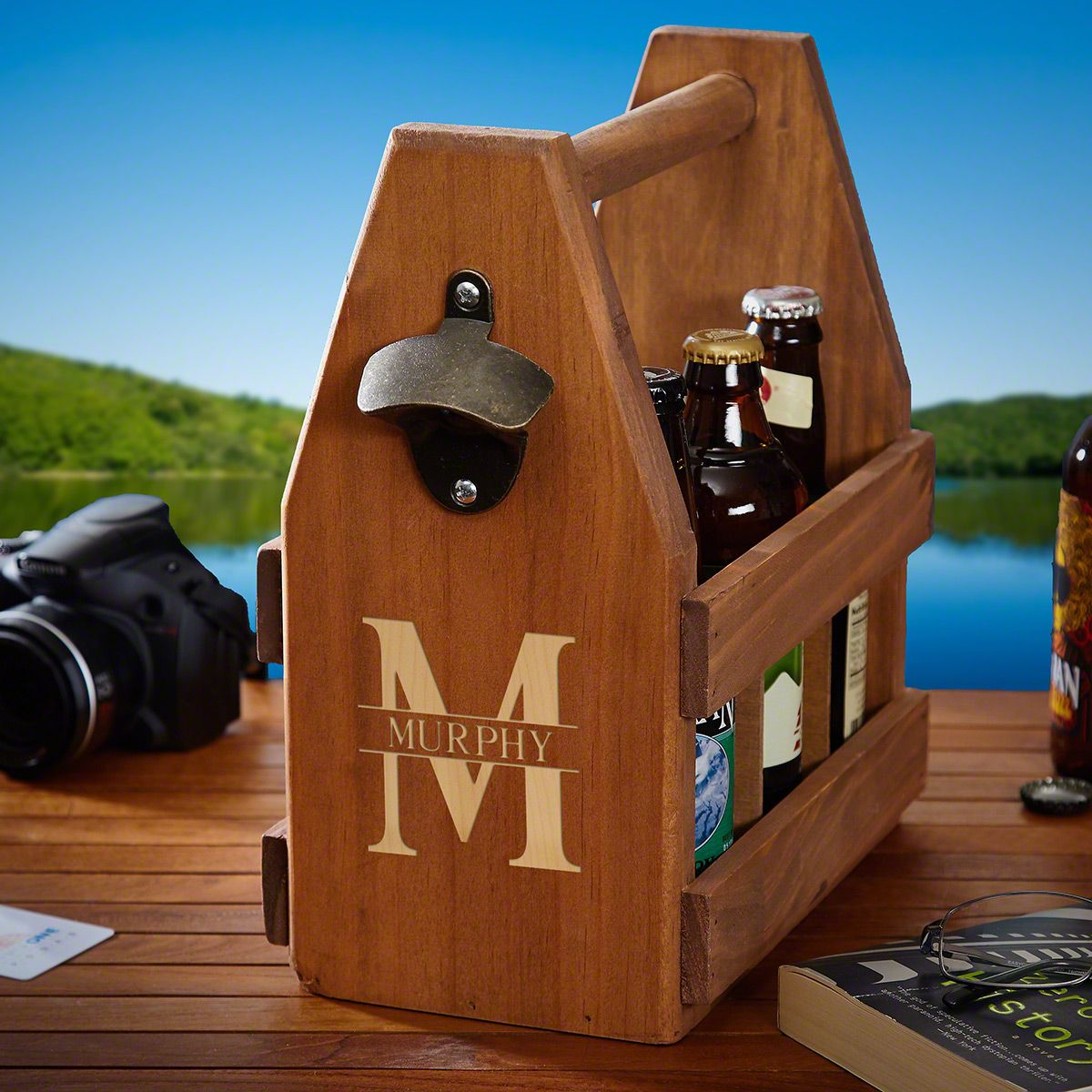 Oakmont Personalized Wooden Beer Carrier with Handle